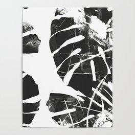 Monstera Leaf Black Poster