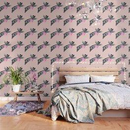 Bubble Gum Sneaky Giraffe Pink Wallpaper
