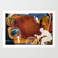 cycling Art Prints featuring Cycling by Robin Curtiss