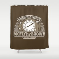 marty mcfly Shower Curtains featuring McFly & Brown Blacksmiths by Doodle Dojo