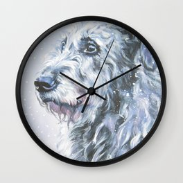 Irish Wofhound Dog Portrait Fine Art from an original painting by L.A.Shepard Wall Clock