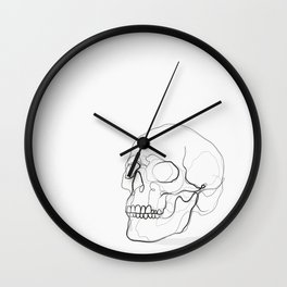 Skull Line Drawing Wall Clock