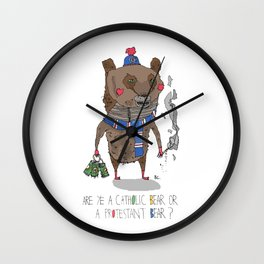 Catholic Bear or a Protestant Bear? Wall Clock