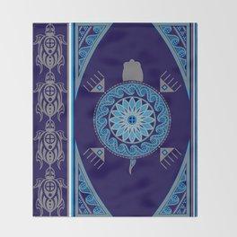 Water Turtle Blue Throw Blanket