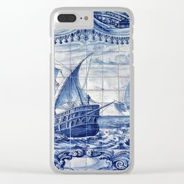 Portuguese Caravelas Azulejo art Clear iPhone Case