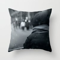 conan Throw Pillows featuring Waiting for Conan by Benjamin Hunter