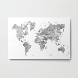 Gray watercolor world map with countries Metal Print