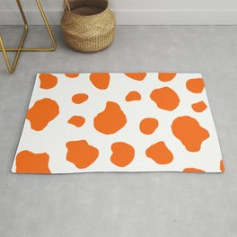 Cow Print Background Orange Color Rug