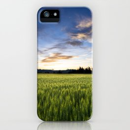 Evening wheat field iPhone Case