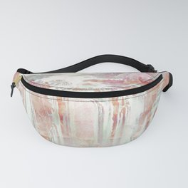 Modern abstract coral pink teal waterfalls Fanny Pack