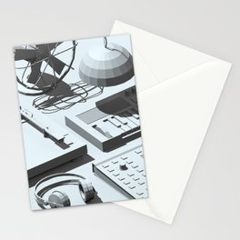 Low Poly Studio Objects 3D Illustration Grey Stationery Cards