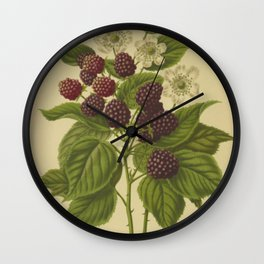 Botanical Blackberries Wall Clock