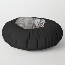 Chameleon & Fly , Funny Wild Animal Illustration, Black & White with Rose Gold Metallic Accent Floor Pillow