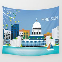Madison, Wisconsin - Skyline Illustration by Loose Petals Wall Tapestry