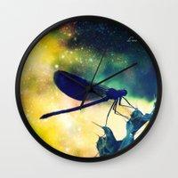 dragonfly Wall Clocks featuring Dragonfly by Luiza Lazar