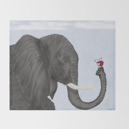 Bertha The Elephant And Her Visitor Throw Blanket