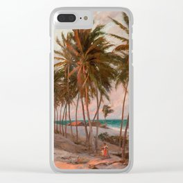 Vintage Palm Tree and Beach Art Clear iPhone Case