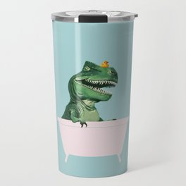 Playful T-Rex in Bathtub in Green Travel Mug