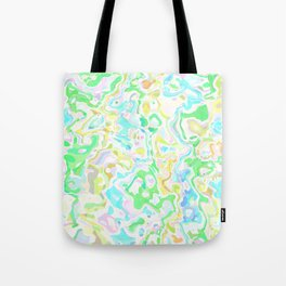 Blue, Yellow, and Green Marbled Tote Bag