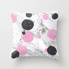 Abstract marble and painting with gold Throw Pillow