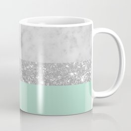 White Marble Mint Silver Glitter Stripe Glam #1 #minimal #decor #art #society6 Coffee Mug
