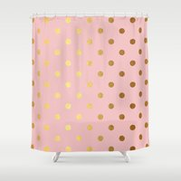 bisexual Shower Curtains featuring Golden polka dots on rose gold backround   by Better HOME