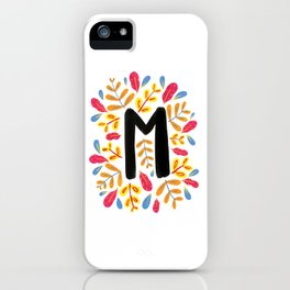 Letter 'M' Initial/Monogram With Bright Leafy Border iPhone Case