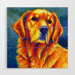 Colorful Golden Retriever Dog Portrait Wood Wall Art