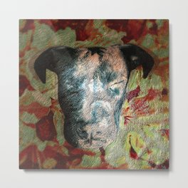 Fur texture Velvet Underground art-punk inspired Pitbull with floral in rich red and grey Metal Print