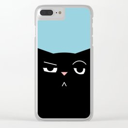 The Boss - Black Cat Illustration Clear iPhone Case