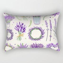 Modern ivory lavender purple vector floral pattern Rectangular Pillow