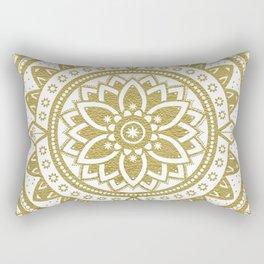 White & Gold Patterned Flower Mandala Rectangular Pillow