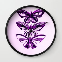Pink and black butterflies, with pastel pink or pastel purple Wall Clock