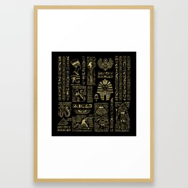 Egyptian hieroglyphs and deities gold on black Framed Art Print
