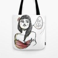 lolita Tote Bags featuring Lolita by Catsareblue
