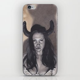 Realism Drawing of a Sexy Devilish Woman with Coffee Stained Background iPhone Skin