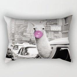 Perfect Pink Bubble Gum Llama taking a New York Taxi black and white photograph Rectangular Pillow