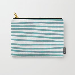 Ocean Green Hand-painted Stripes Carry-All Pouch