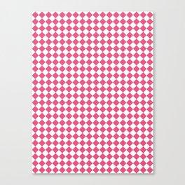 Small Diamonds - White and Dark Pink Canvas Print