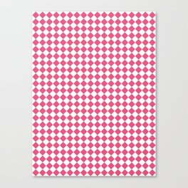 Small Diamonds - White and Dark Pink Canvas Print
