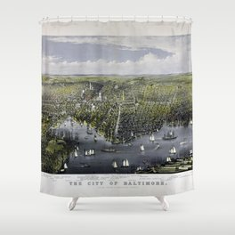 The City of Baltimore by Currier & Ives (1880) Shower Curtain