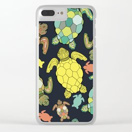 Colorful happy turtles. Clear iPhone Case