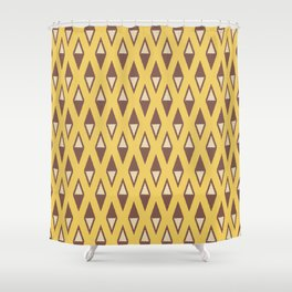 Classic Diamond and Stripes Pattern 243 Yellow Brown and Beige Shower Curtain