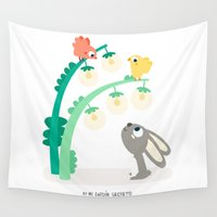 rabbit Wall Tapestries featuring RABBIT by Mi Jardín Secreto