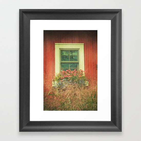 White Window on Red House Framed Art Print