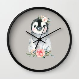 Penguin with Rose Wall Clock