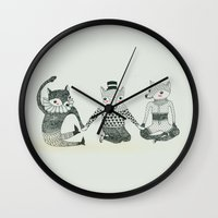 best friends Wall Clocks featuring BEST FRIENDS by yellow pony