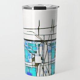blue brick building Travel Mug