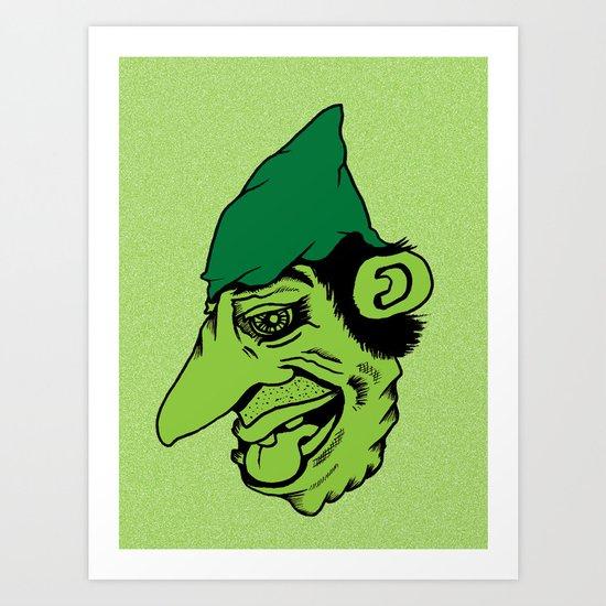 Sinister Little Green Man Wearing a Cloth Napkin as a Hat Art Print