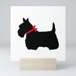 Scottie Dog with Red Bow Mini Art Print